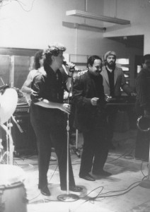 Singing with Cheech, 1985. Bobby Espinoza (El Chicano) at the piano.